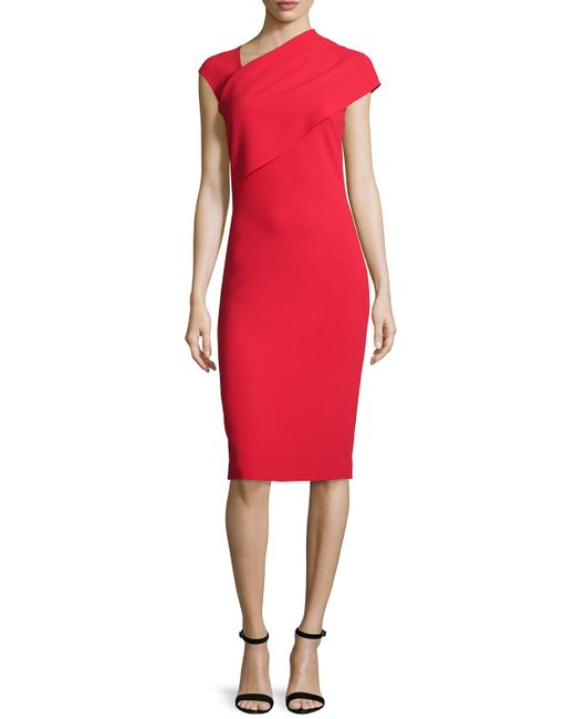 Ralph lauren collection Sonya Cap-sleeve Sheath Dress in Red | Lyst