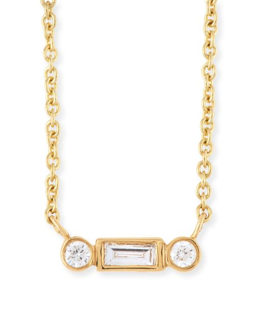 Sydney Evan | Metallic Bezel Baguette Diamond Necklace | Lyst