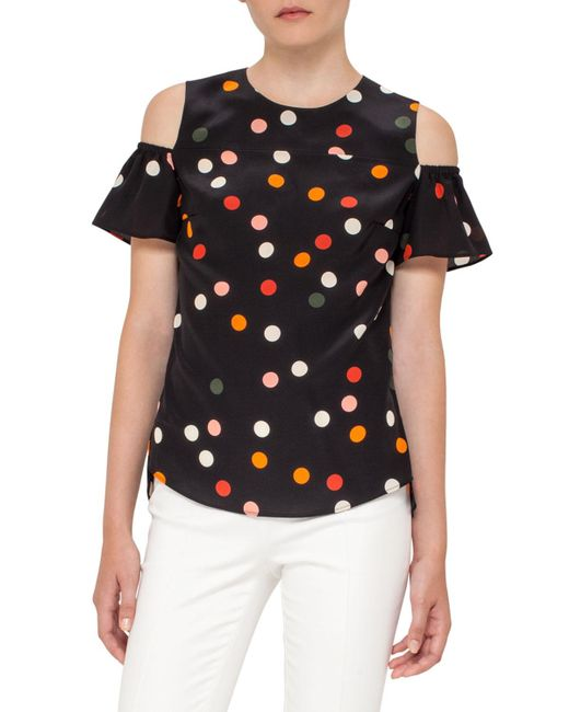 Akris Punto | Black Polka Dot Cold-shoulder Top | Lyst