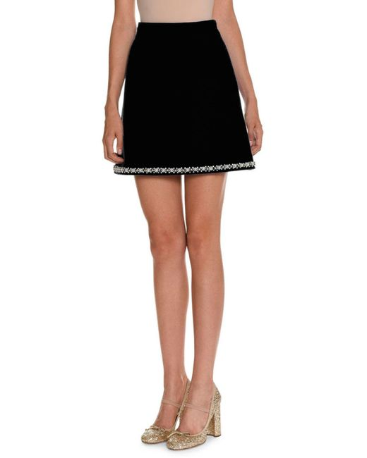 Miu Miu | Black Pearly-embroidered A-line Skirt | Lyst