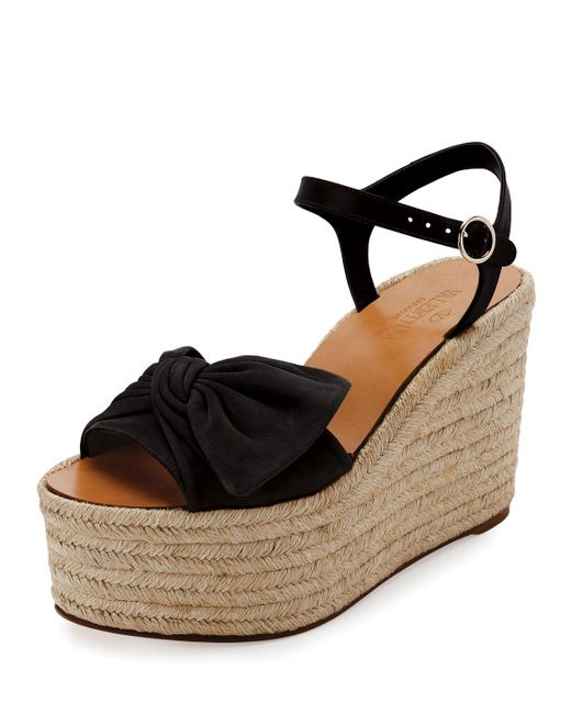 Valentino | Black Tropical Bow Espadrille Wedge Sandal | Lyst