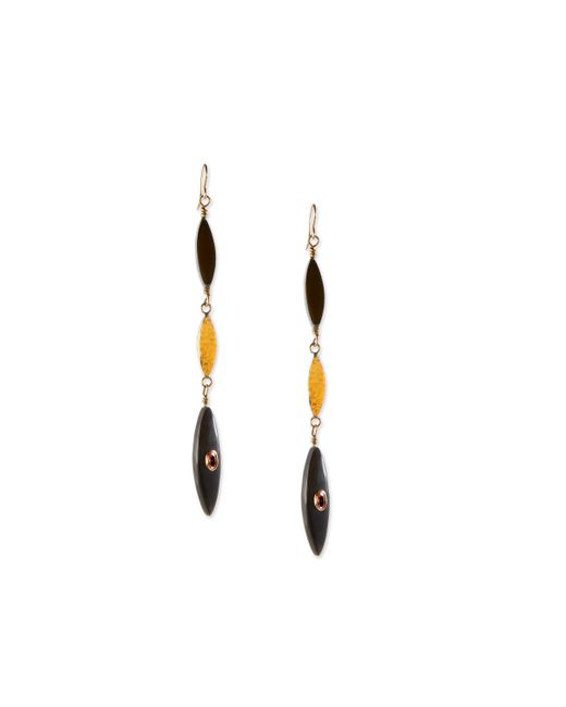Ashley Pittman | Multicolor Tarabu Linear Dark Horn & Bronze Drop Earrings | Lyst