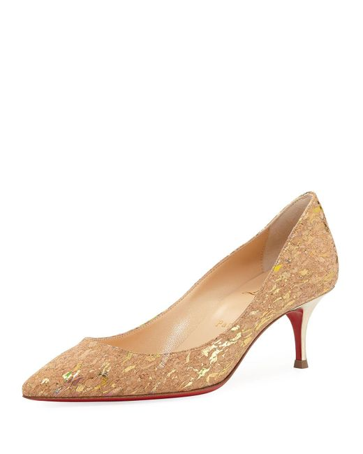 Christian Louboutin | Natural Pigalle Follies Cork Red Sole Pump | Lyst
