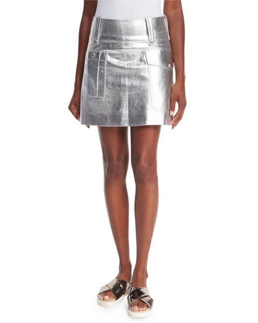 Miu Miu   Metallic Leather Mini Skirt   Lyst