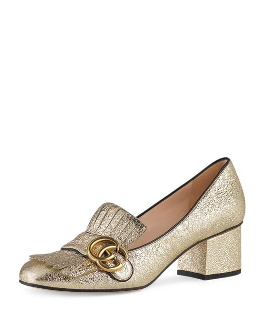 Gucci | Metallic Marmont Fringe Leather 55mm Loafer | Lyst