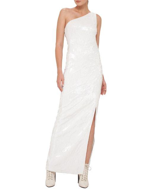 Akris | White Sequined Jersey One-shoulder Gown | Lyst