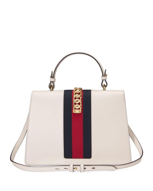 Gucci Sylvie Embroidered Leather Top Handle Satchel Bag In