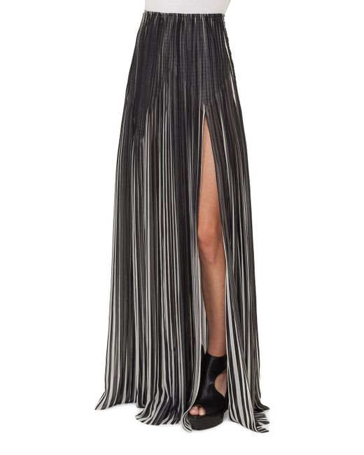 Akris | Black Striped Plissé Silk Maxi Skirt | Lyst