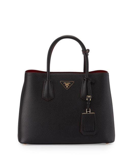 Prada | Black Saffiano Cuir Double Small Tote Bag | Lyst