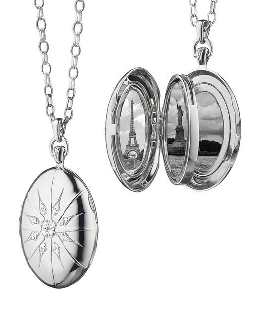 Monica Rich Kosann | Multicolor Sterling Silver Starburst Locket Necklace With White Sapphires | Lyst