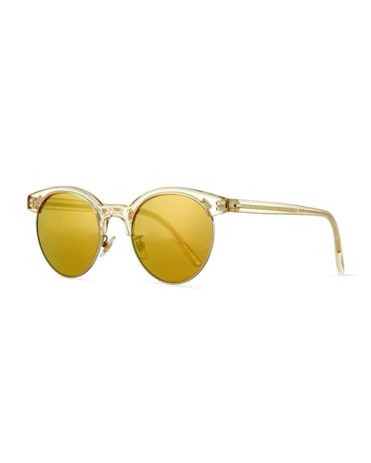 Oliver Peoples | Yellow Ezelle Mirrored Semi-rimless Sunglasses | Lyst