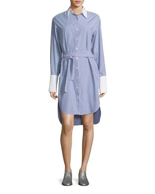 Rag & Bone   Blue Essex Striped Belted Shirtdress With Contrast Trim   Lyst