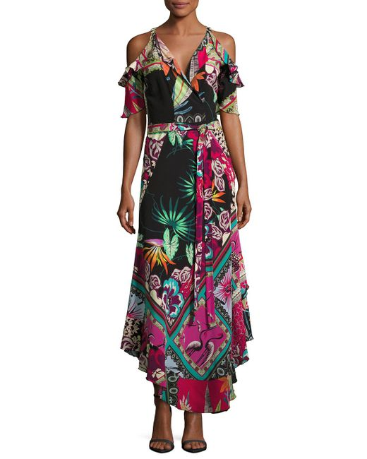 Etro | Black Tropical-print Cold-shoulder Wrap Dress | Lyst