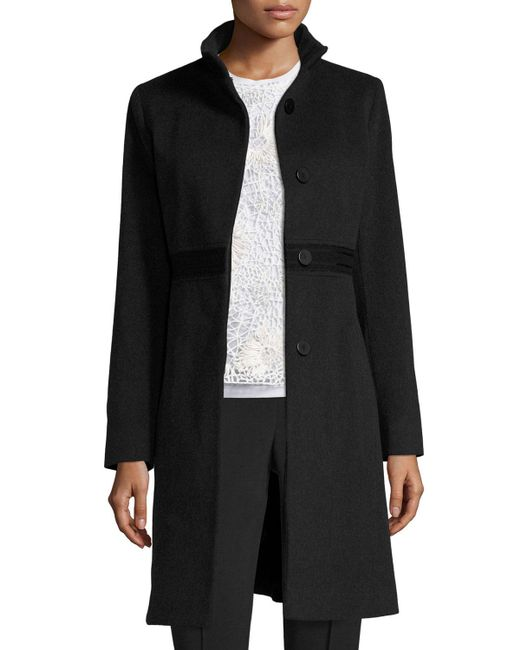 Fleurette | Black Wool Lace-trim Coat | Lyst