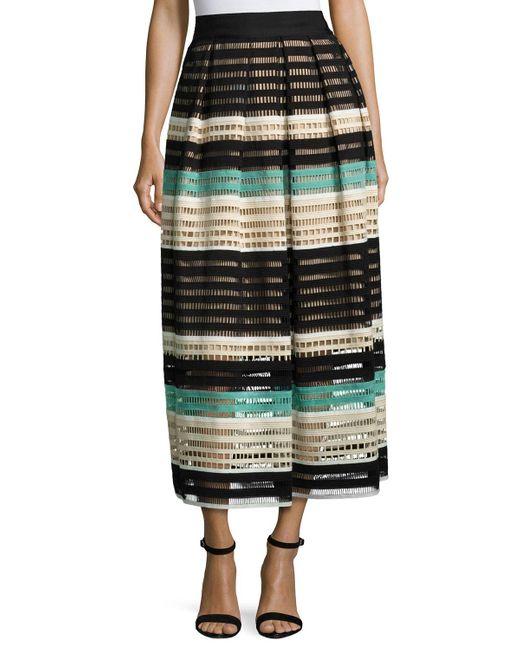 Lela Rose | Green Striped Crochet A-line Midi Skirt | Lyst