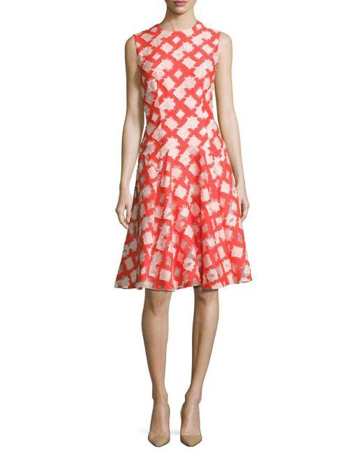 Lela Rose | Red Sleeveless Godet A-line Dress | Lyst