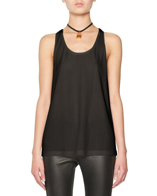 Tom Ford   White Scoop-neck Tank W/leather Padlock   Lyst