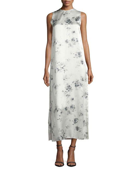 Calvin Klein | Gray Sleeveless Floral Silk Midi Dress | Lyst