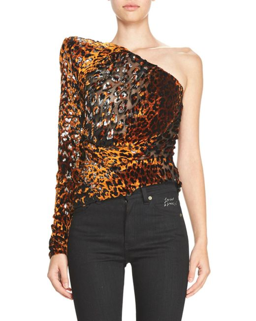 Saint Laurent   Orange Flocked Cheetah-print Mini Dress   Lyst