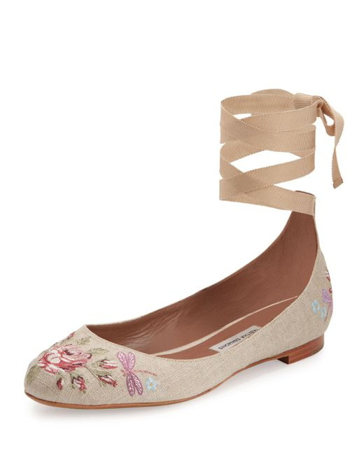 Tabitha Simmons | Brown Daria Embroidered Linen Ankle-wrap Flat | Lyst