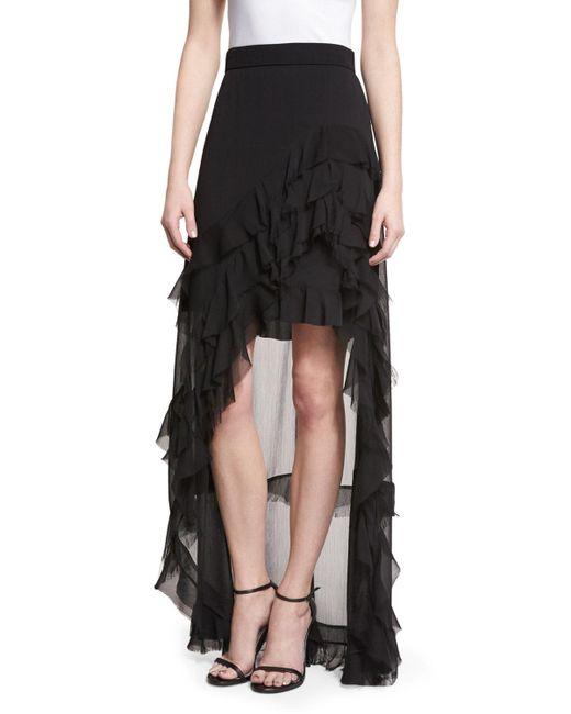 lavera layered ruffle high low maxi skirt