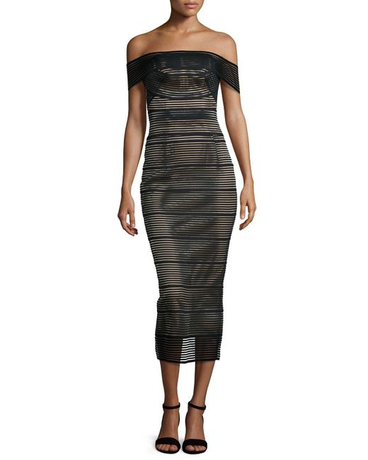 Rachel Gilbert | Black Stretch-bandage Midi Dress | Lyst