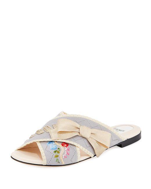 Fendi | Multicolor Crisscross Knit Slide Sandal | Lyst