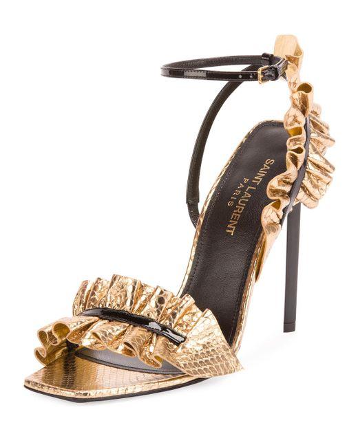 Saint Laurent | Metallic Ruffled Snakeskin 110mm Sandal | Lyst