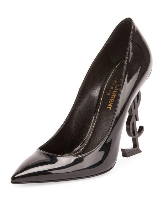 Saint Laurent   Black Patent 110mm Ysl-heel Pump   Lyst