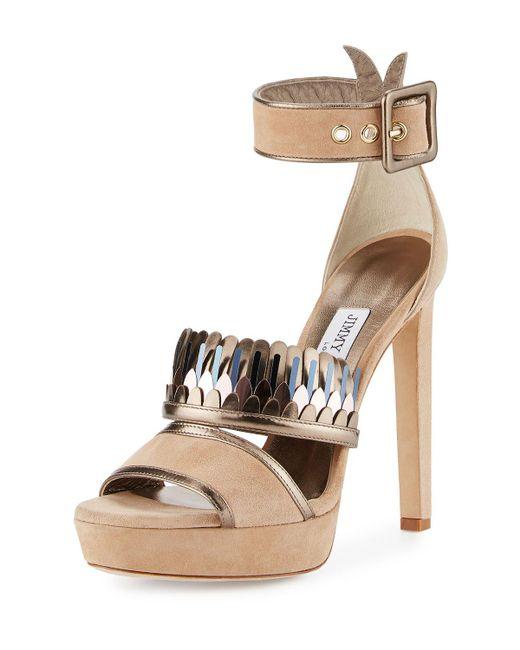 Jimmy Choo   Natural Kathleen Suede Ankle-wrap Sandal   Lyst