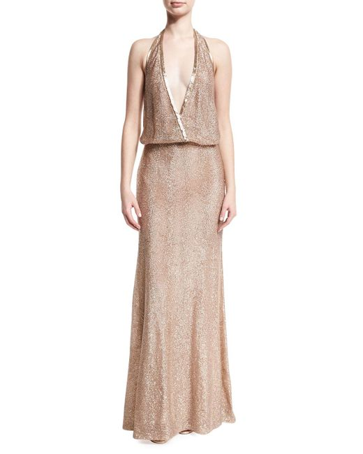 Monique Lhuillier | Multicolor Beaded Deep-v Halter Gown | Lyst