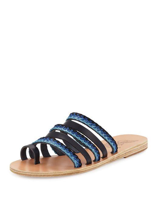 Ancient Greek Sandals   Blue Niki Braided Toe-ring Slide Sandal   Lyst