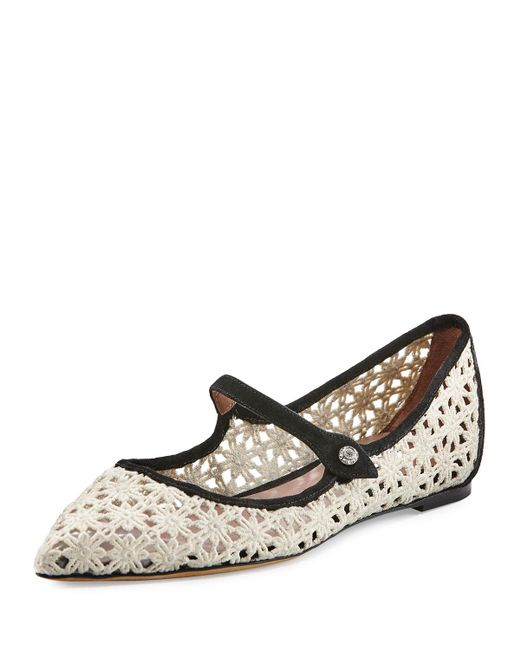 Tabitha Simmons | White Hermione Daisy Crocheted Mary Jane Flat | Lyst