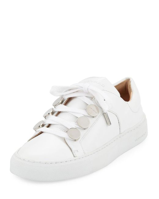 Carven | White Leather Studded Low-top Sneakers | Lyst