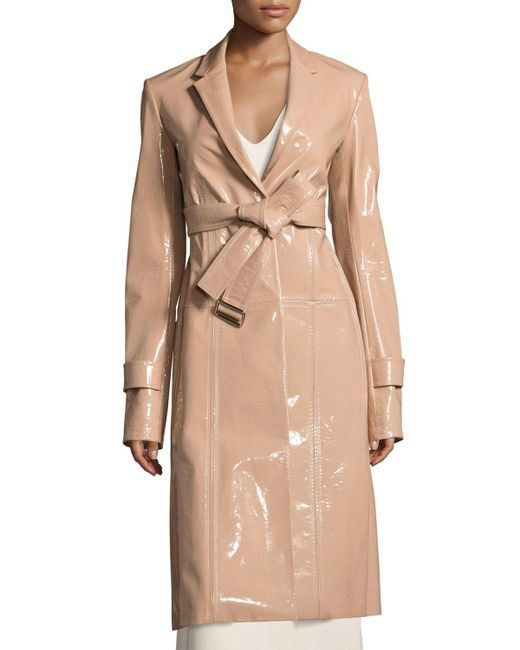 Calvin Klein | Natural Patent Leather Belted Trench Coat | Lyst