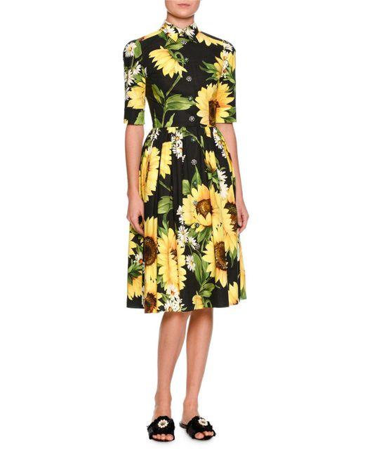 Dolce & Gabbana | Yellow Sunflower-print Cotton-poplin Shirtdress | Lyst