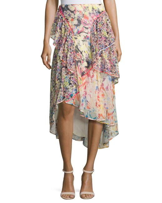 jason wu floral print chiffon high low skirt lyst