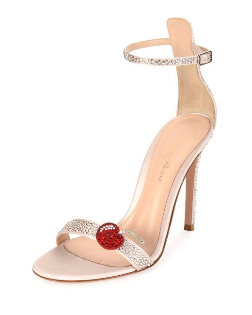 Gianvito Rossi | Pink Strass Cherry Ankle-wrap 105mm Sandal | Lyst