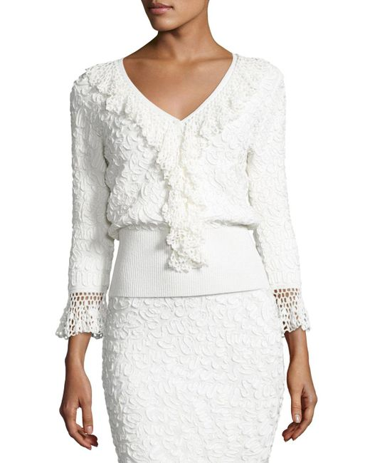 Michael Kors | White Crochet-trim Soutache-embroidered Top | Lyst