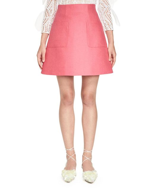 Delpozo   Pink Stiff Linen A-line Skirt   Lyst