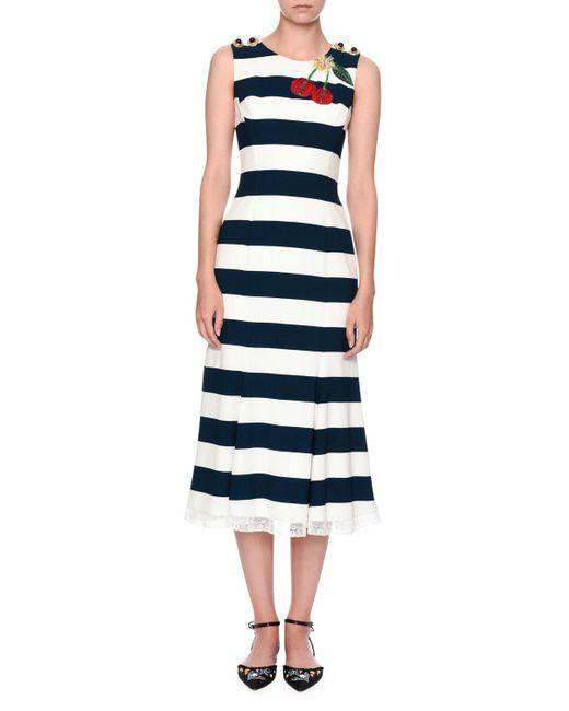 Dolce & Gabbana | Blue Navy Cherry Embroidered Dress | Lyst