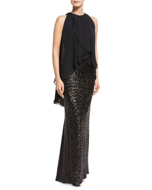 Talbot Runhof | Black Morava Sequined Sleeveless Gown With Ruffled Chiffon Overlay | Lyst