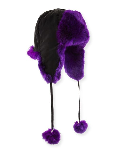 Adrienne Landau | Purple Rabbit Fur Trapper Hat | Lyst