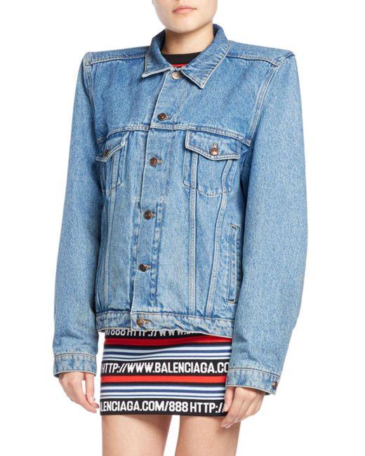 Balenciaga | Blue Boxy Denim Jacket With Shoulder Pads | Lyst
