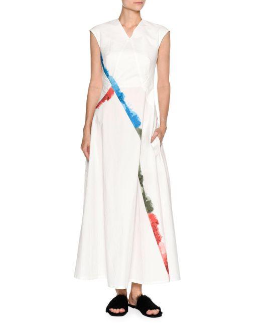 Tomas Maier | White Rainbow-trim Cap-sleeve Maxi Dress | Lyst