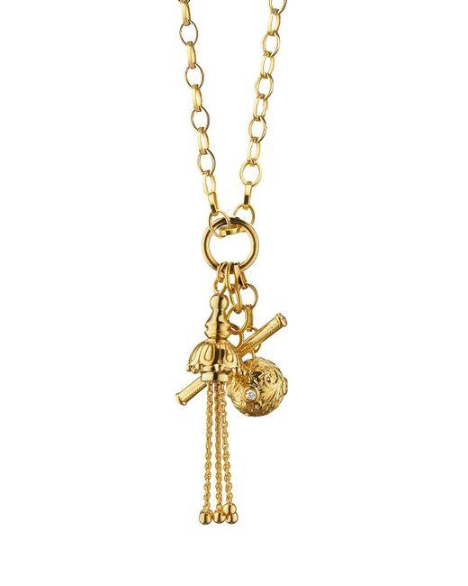 Monica Rich Kosann | Metallic 18k Gold Tassel/toggle/ball Charm Necklace | Lyst