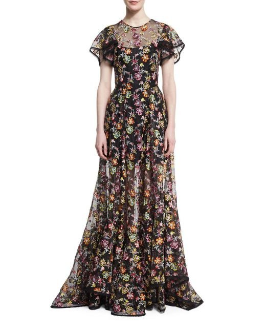 Zac Posen   Black Floral-embroidered Organza Gown   Lyst
