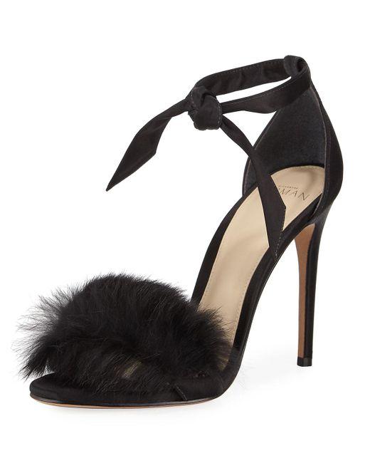 Alexandre Birman | Black Clarita Rabbit Fur Sandal | Lyst