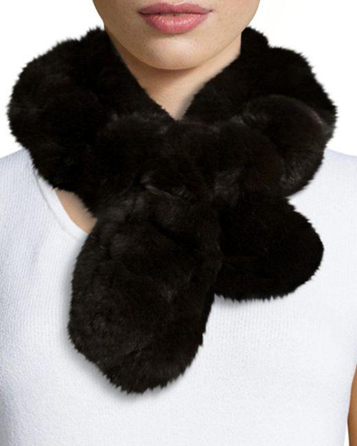 Belle Fare   Brown Rex Rabbit Fur Pompom Neck Warmer   Lyst