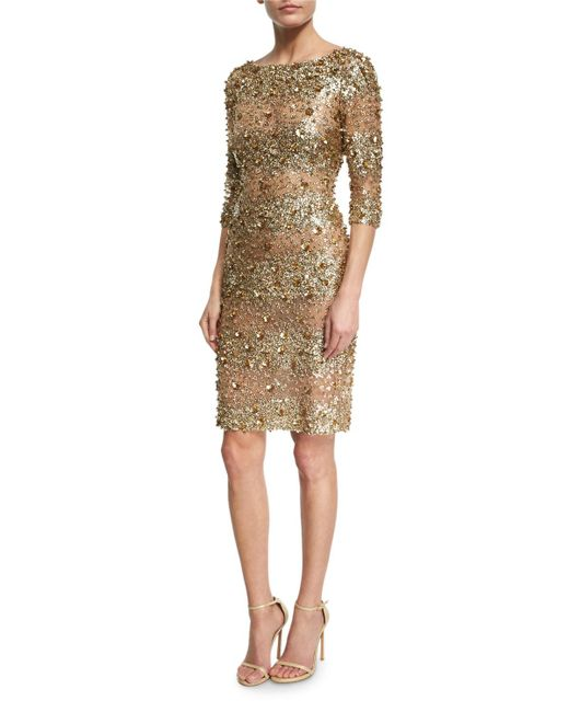 Naeem Khan | Metallic Beaded 3/4-sleeve Fitted Cocktail Dress | Lyst
